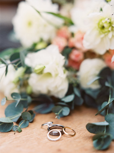 Wedding Rings & Bouquet at 320 Ranch Wedding in Big Sky, Montana