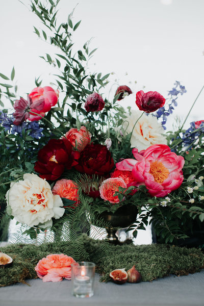 Escort Card Table Floral Arrangement with Peonies at the Roundhouse in Beacon , New York. Hudson Valley wedding florist.
