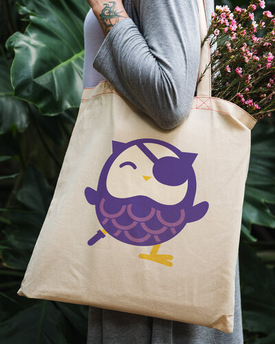 Owl cartoon on a canvas tote