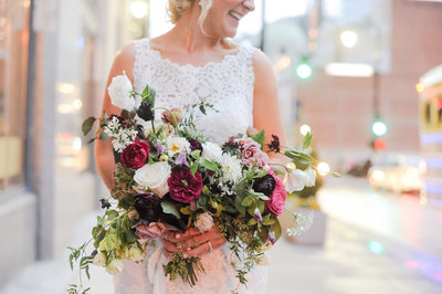 Lush Fall Bridal Bouquet Featuring Marsala Garden  Roses