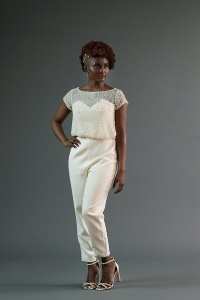 Model wearing the Jonah bridal jumpsuit from the 2019 Edith Elan bridal collection