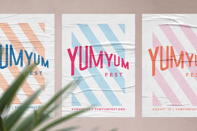 Event branding and design for a summer food festival, Yum Yum Fest, by Christie Evenson