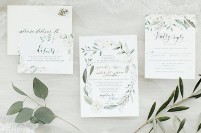 watercolor wedding invitations with white flowers