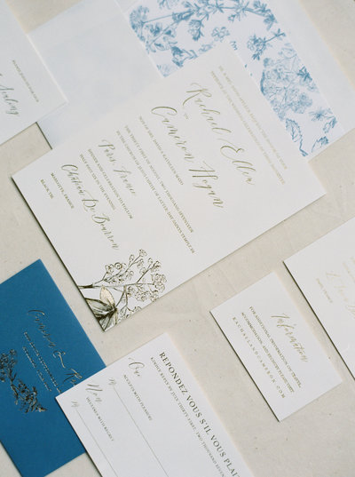 London semi-custom invitation suite, handmade paper, calligraphy, vintage stamps