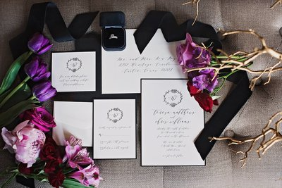 wedding details, invitation suite, bridal bouquet, wedding invitation