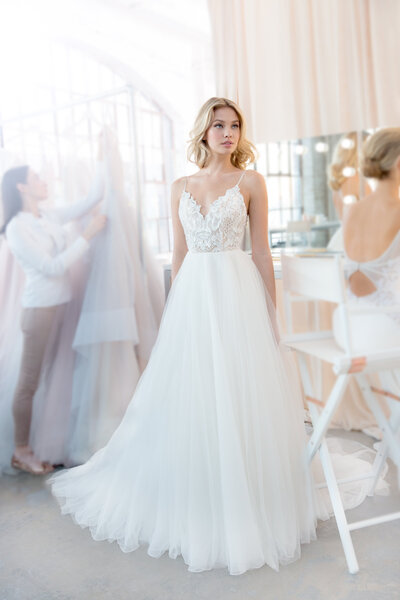 Blush by Hayley Paige bridal gown - Ivory tulle A-line bridal gown, beaded lace bodice with scalloped sweetheart neckline and low scoop back, full skirt of tulle and organza.