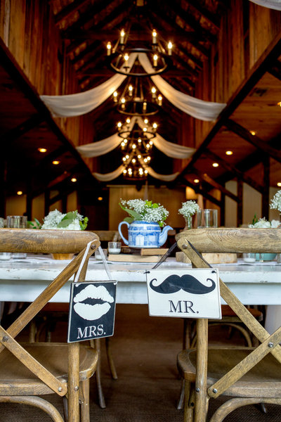 Mr and Mrs signs at a rustic wedding tablescape