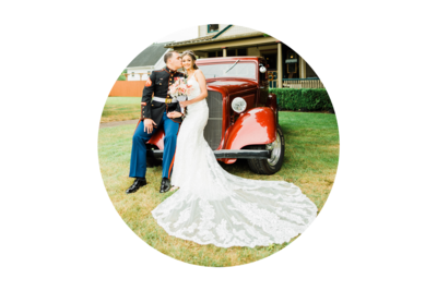 Seattle Wedding Photographer and Videographer Bride and Groom with classic car at Orting Manor wedding venue