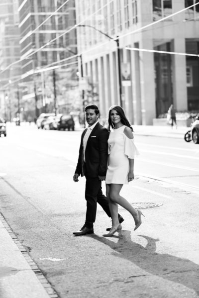 Formal engagement session at the Toronto financial district