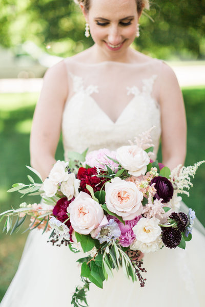 Colorful spring wedding bouquet.