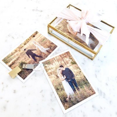 glass keepsake box with printed images of a couple
