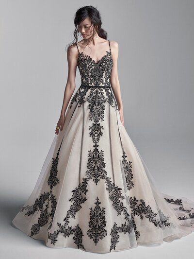 Black Lace A-line Wedding Dress Favorite When romancing the black wedding dress, ballgown is often the silhouette of choice-add some chic spaghetti straps, and consider a birdcage veil for a flirty vintage affair. Even the die-hard traditionalist will swoon.