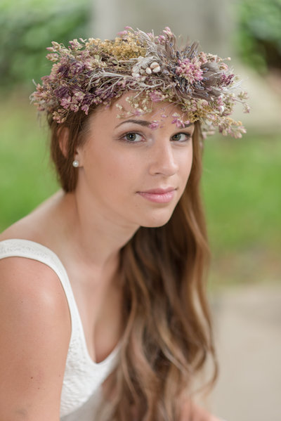 High School Senior Floral Crown Portrait