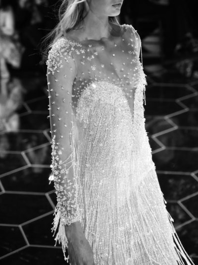 Pronovias Barcelona Bridal Fashion Week Romee Strijd Sheer Beaded Wedding Dress Editorial Fashion Photographer Chelsea Loren