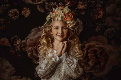 Girl with Flower Crown-Vintage Floral-Child Photography-Dallas