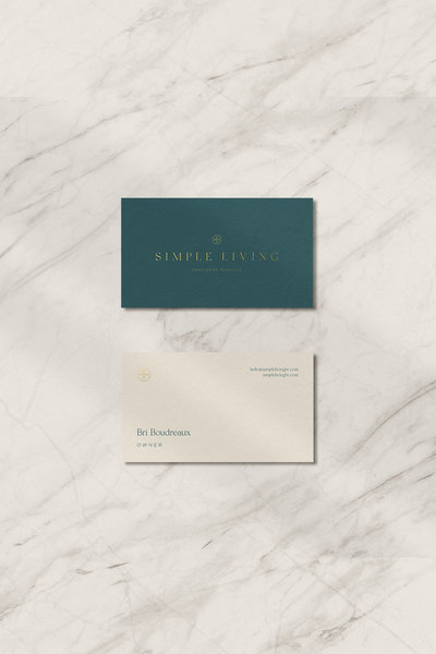 Business card design for Simple Living Concierge Services in Louisiana. Branding done by Rhema Design Co in collaboration with Kait Studio