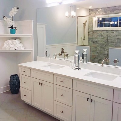 master bathroom contemporary glam