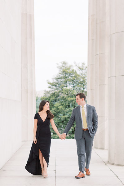 Sunrise Engagement Session at Lincoln Memorial