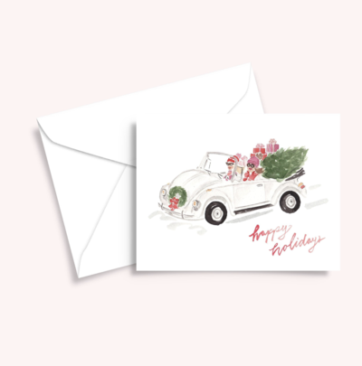 Retro VW bug christmas girl illustration