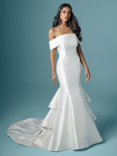 Strapless Mermaid Wedding Dress. This Mikado mermaid wedding dress has caught your eye. You have glamorous taste. It's possible you had a past life in the Golden Age of Hollywood.