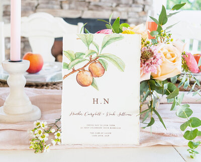 custom wedding invitations with hand painted peaches and calligraphy details