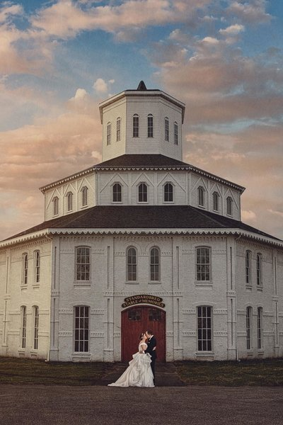 Bride and Groom at Round Barn in Lexington Kentucky.