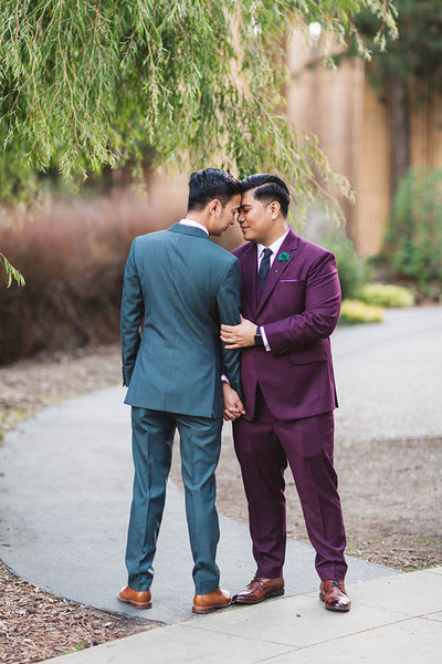 same sex matching suit wedding in palace of fine arts