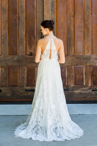 Back view of the Sabine all lace racerback wedding dress from the Classics bridal collection by Edith Elan