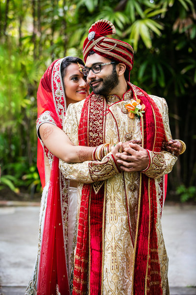 indian couple embrace bahia resort san diego wedding photographer