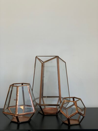 Rose Gold Lantern Trio