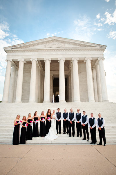 Bridal Party Pink and Black at Jefferson Memorial