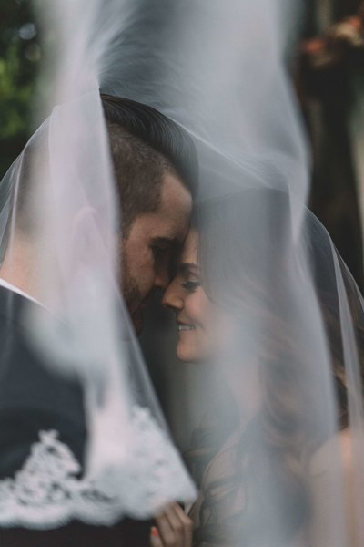 Bride & Groom under wedding veil