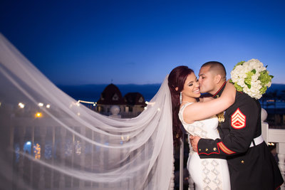 Bride and Groom night portrait at their wedding at the Hotel Del Coronado