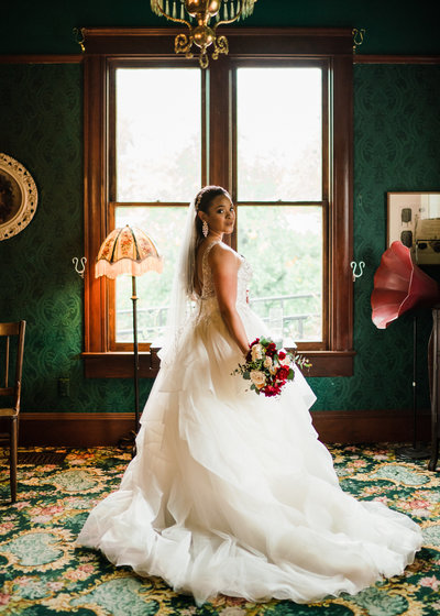 bride at grass room wedding venue in los angeles