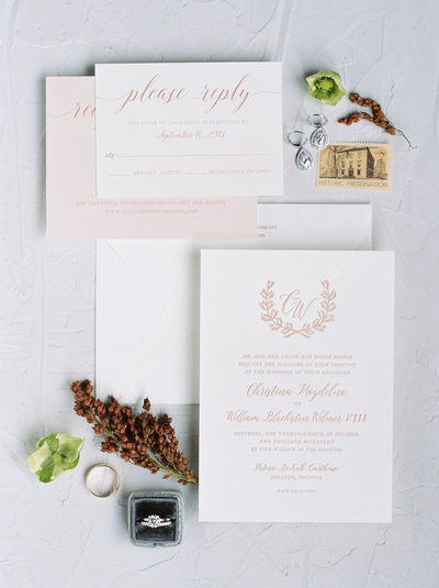 All invitations and corresponding day-of paper details are printed on your choice of thick 120# standard paper or 100% premium cotton paper in white or ivory.