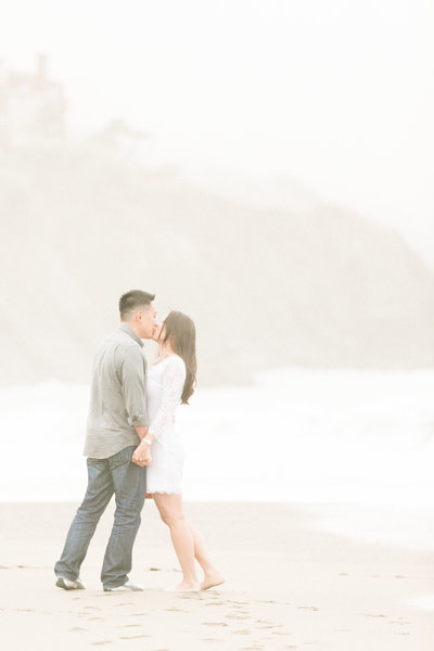 Foggy Baker's Beach engagement, San Francisco Northern California coastal lifestyle wedding photographers, Evonne and Darren