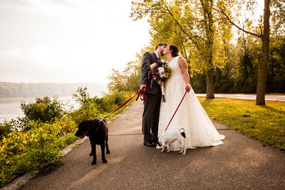 Bride and groom walk their dogs on a path at Presque Isle State Park