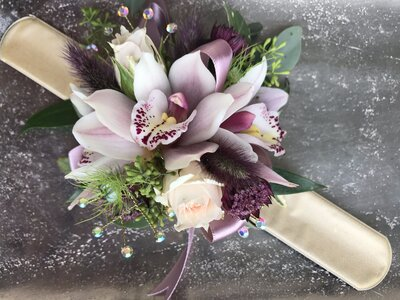 Pink Cymbidium Jana Rose Nigella Astrantia Red Bunny Tails gold slap band corsage