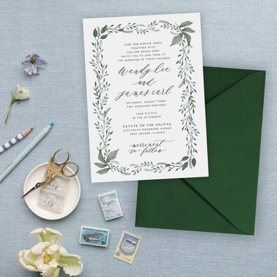 Wedding Invitations with Painted Green leaf Frame