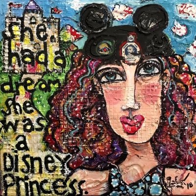 Phaedra Dahl-Disney Princess-acrylic mixed media-6x6x2in-2018 $350