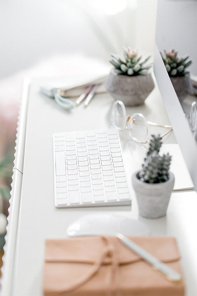 white-keyboard-and-cactus-plants-Christy-Hunter-Photography