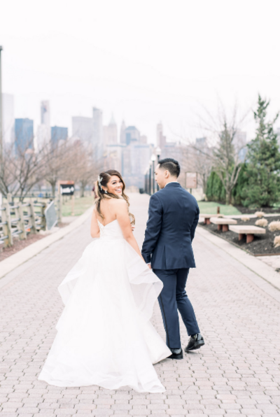 Liberty House wedding photo captured by Jersey City wedding photographer Myra Roman