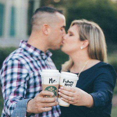 Baltimore engagement photographer starbucks cups
