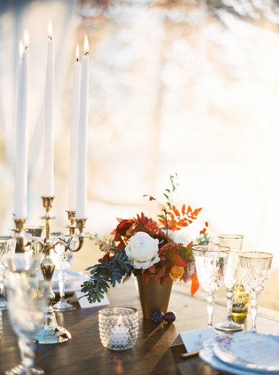 Autumnal Table Setting  for Luxury Wedding in Montana