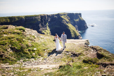 small wedding at the cliffs of moher in ireland