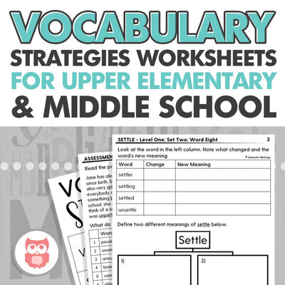 Vocabulary strategies worksheets for upper elementary and middle school speech therapy