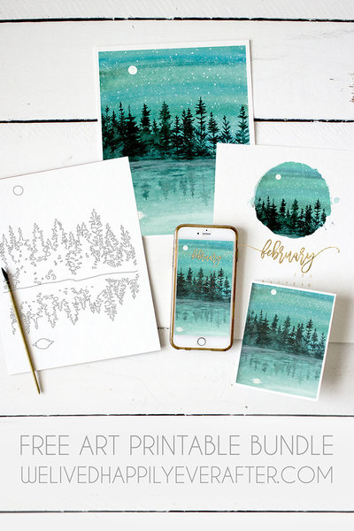 Free Art Printable Bundle - Download Includes Calendar, Mobile & Desktop Device Backgrounds, Art Print, Art Greeting Card, Coloring Sheet