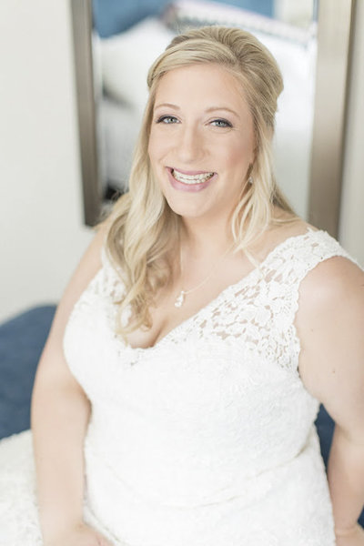 Refined bride in curvy dress