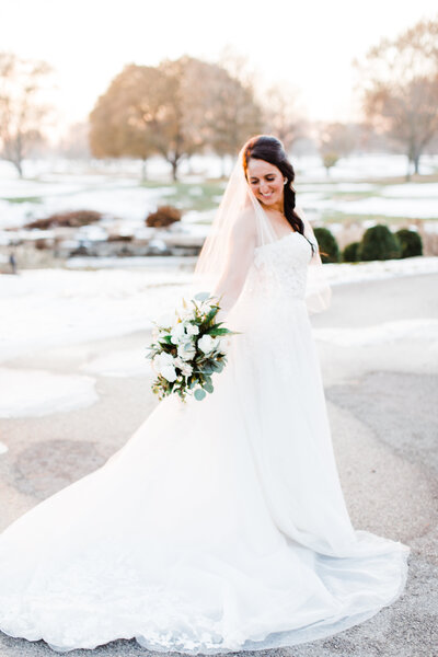 winter bride in the sunset light