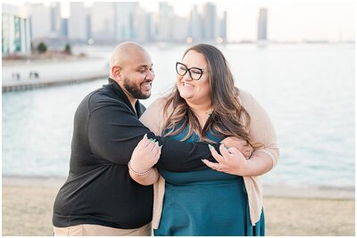 Sunset Engagement session in downtown Chicago